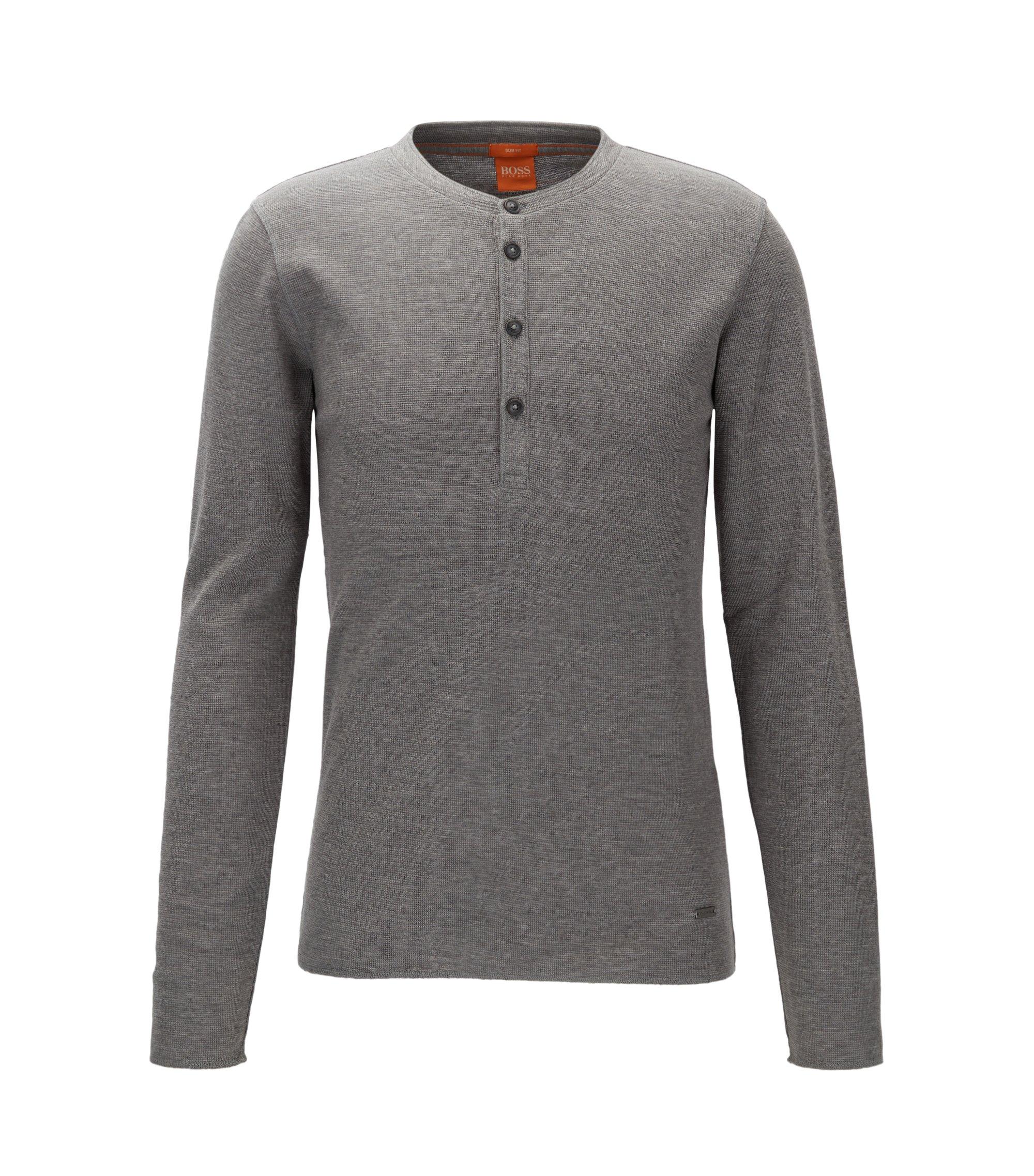 Slim-fit henley-T-shirt van katoen met wafelstructuur, Lichtgrijs