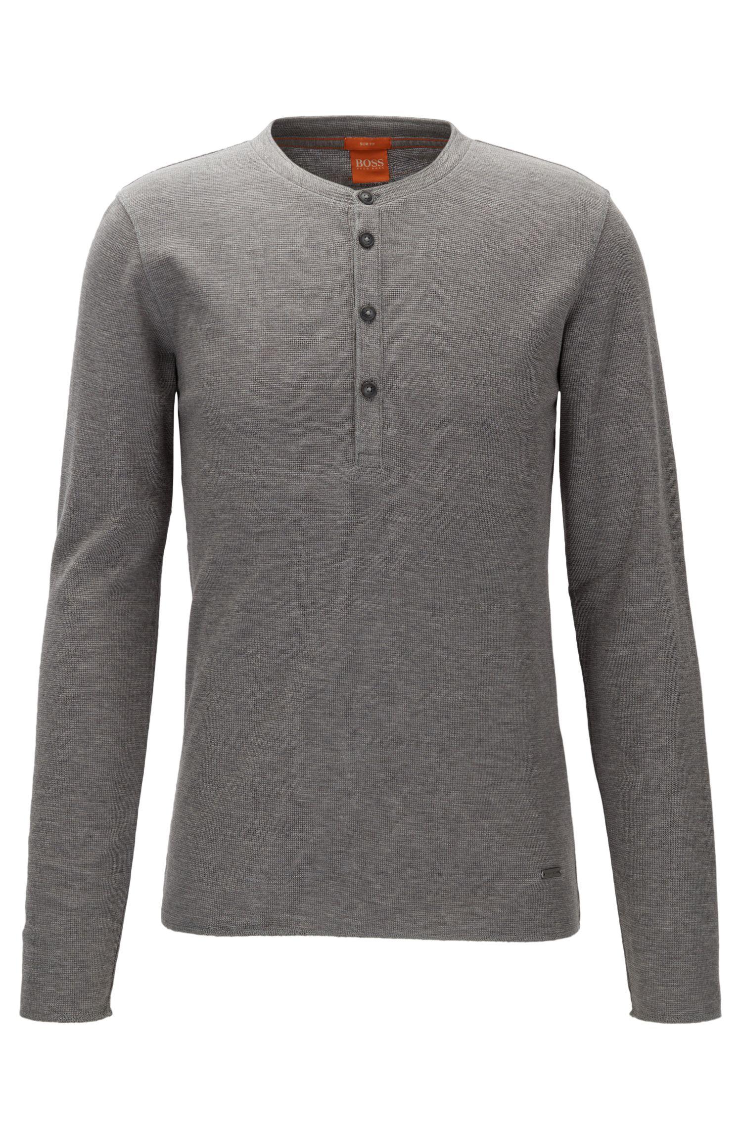 Slim-Fit Henley-Shirt aus Baumwolle mit Waffelstruktur