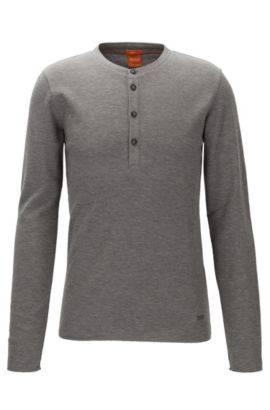 Slim-fit Henley T-shirt in waffle cotton, Light Grey