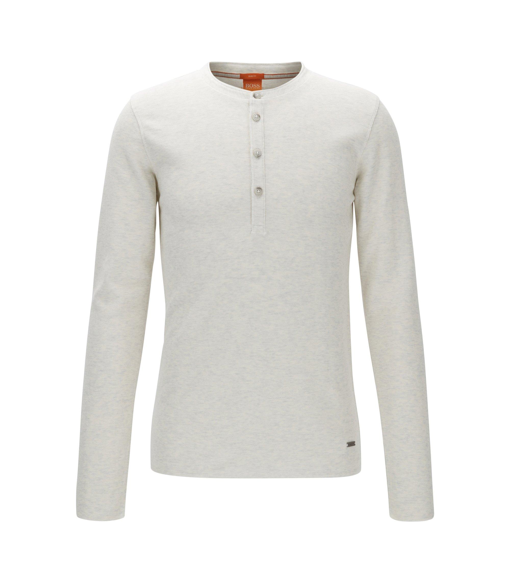 Camiseta slim fit estilo Henley en algodón de rejilla, Natural