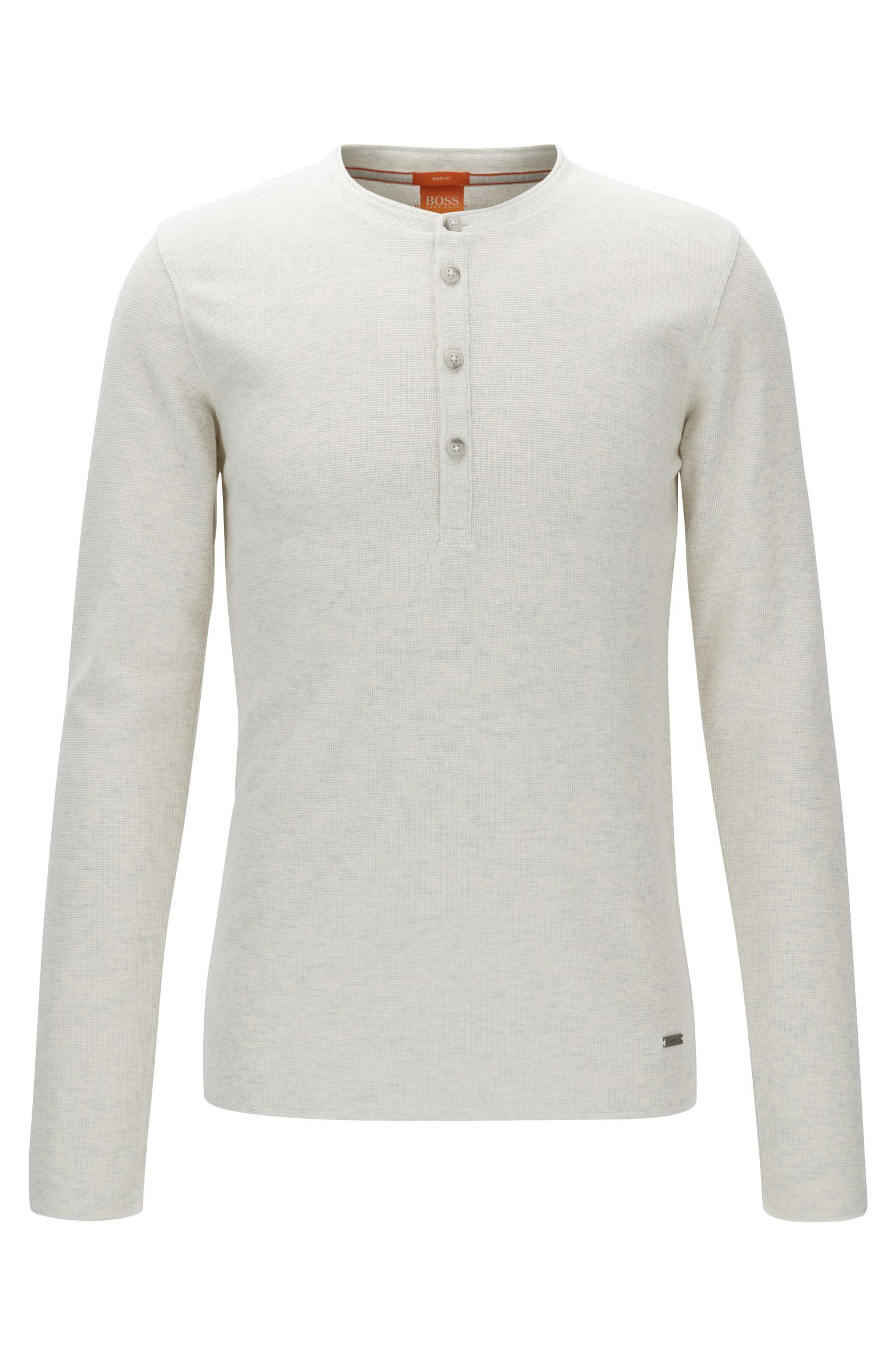Slim-fit Henley T-shirt in waffle cotton