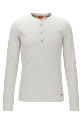 Slim-fit Henley T-shirt in waffle cotton, Natural