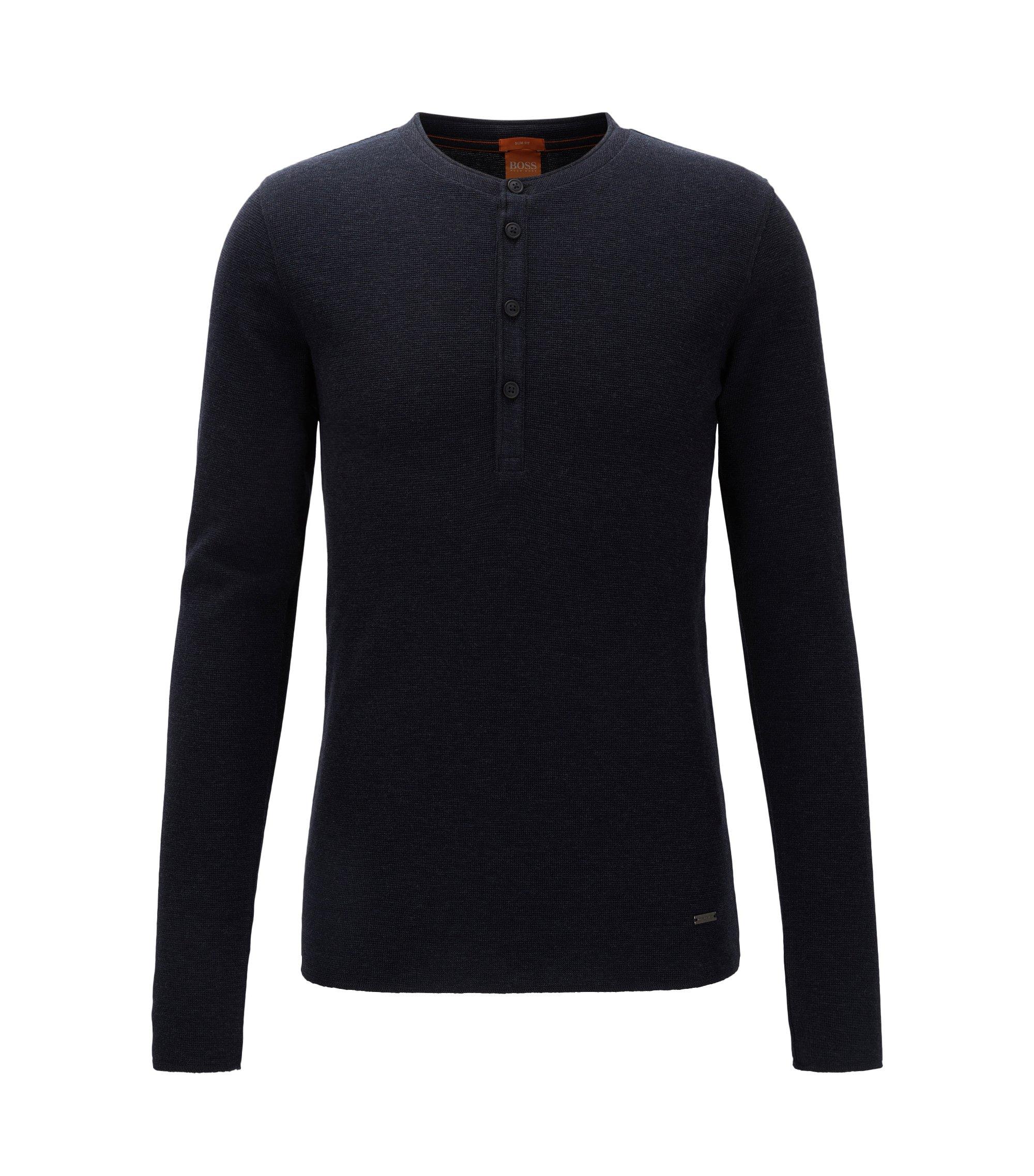 Slim-Fit Henley-Shirt aus Baumwolle mit Waffelstruktur, Dunkelblau