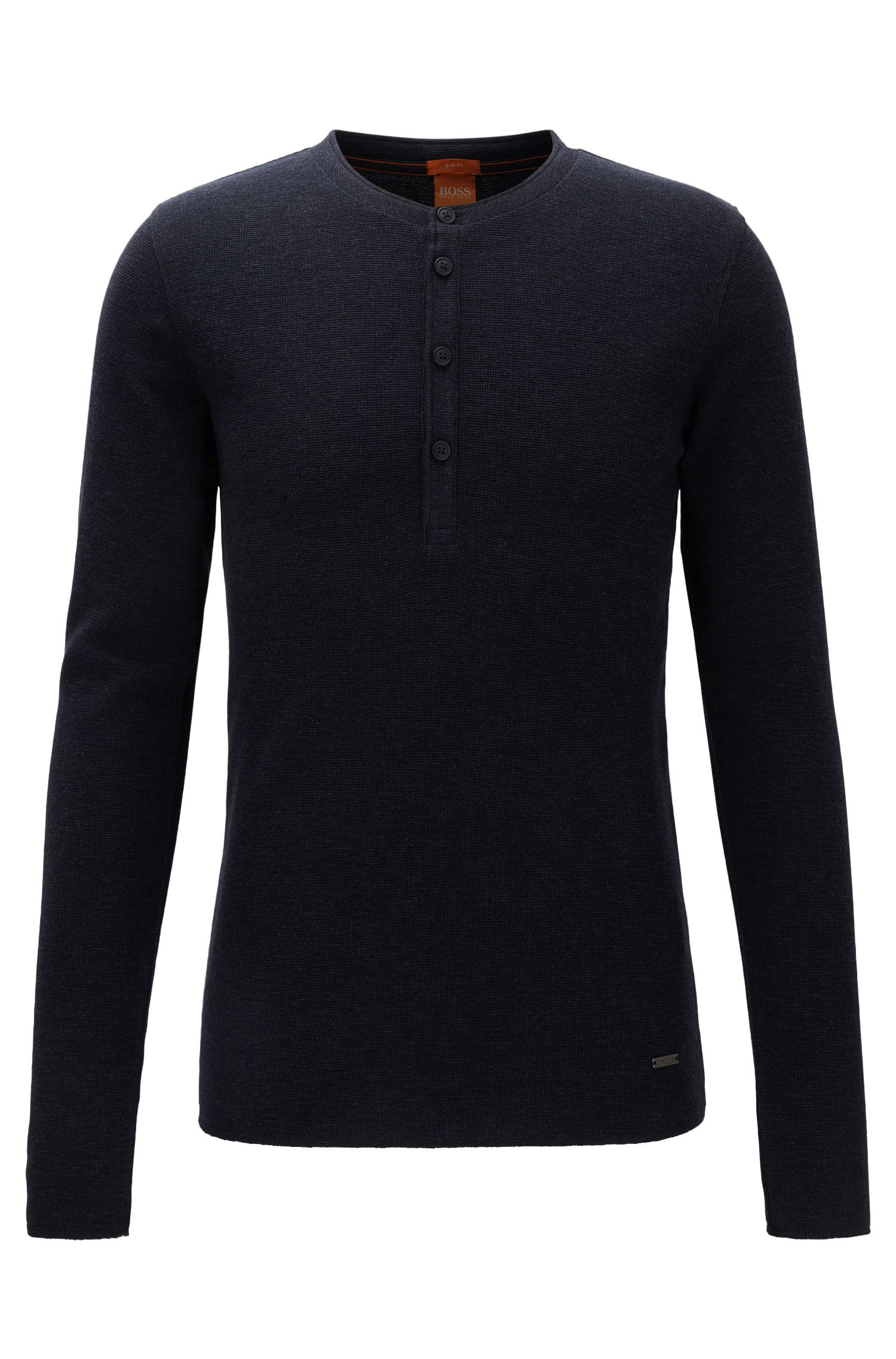 T-shirt slim fit stile Henley in cotone waffle