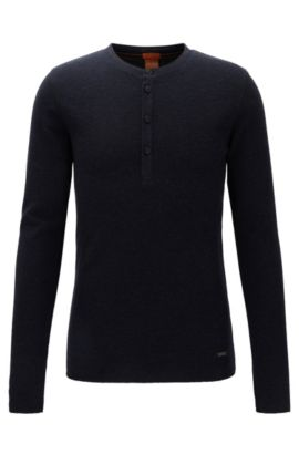 Slim-fit Henley T-shirt in waffle cotton, Dark Blue