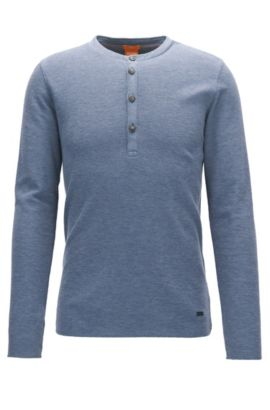 T-shirt slim fit stile Henley in cotone waffle, Blu