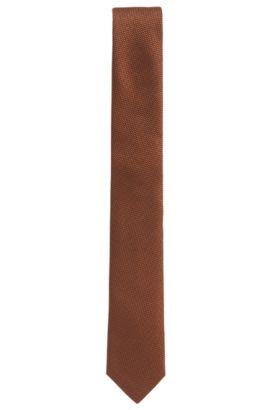 Textured silk jacquard tie, Brown