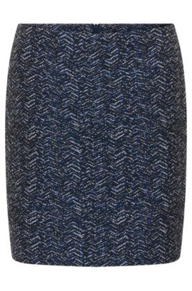 Mini skirt in yarn-dyed jacquard, Dark Blue