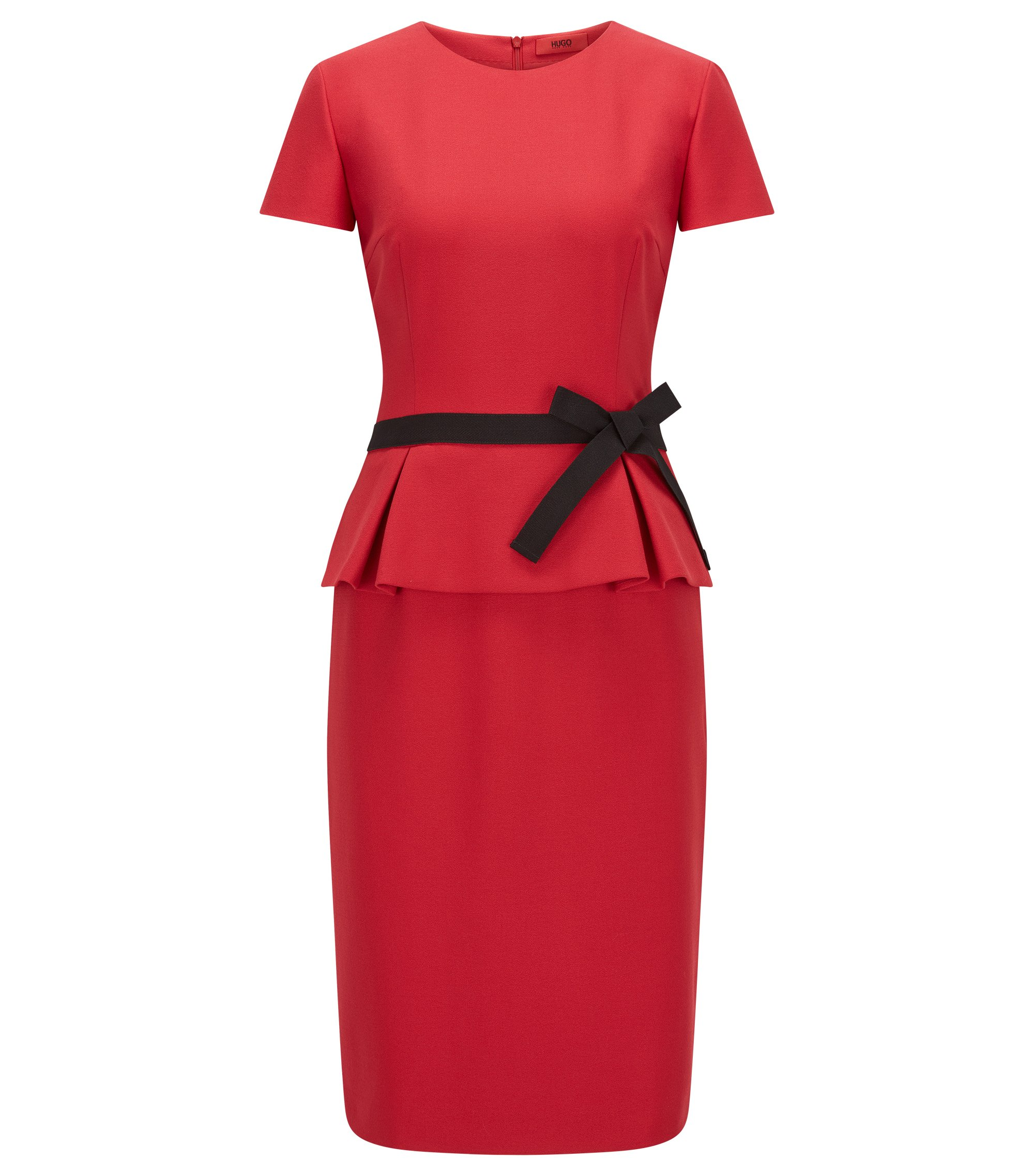 Regular-fit crêpe peplum dress, Red
