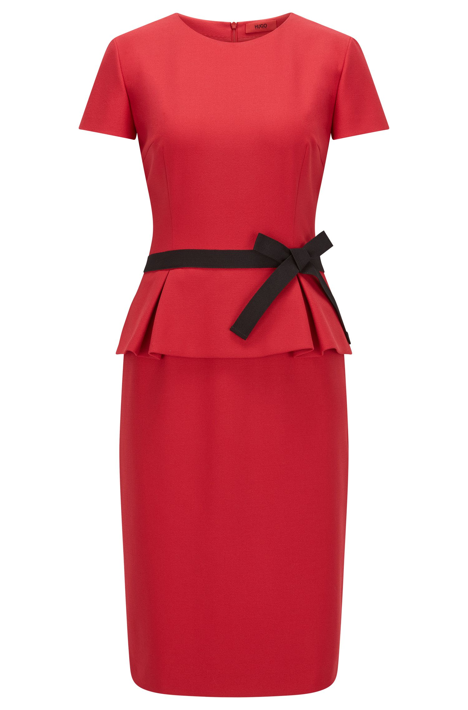 Regular-fit crêpe peplum dress