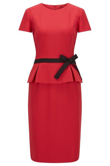 HUGO - Regular-Fit Kleid aus Krepp mit Schößchen