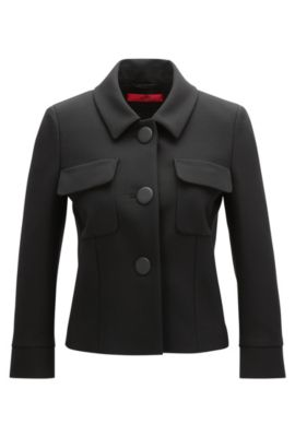 Relaxed-fit jacket in double-faced fabric, Schwarz