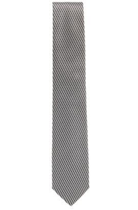 Krawatte aus Seiden-Jacquard mit Streifen-Muster, Dunkelgrau