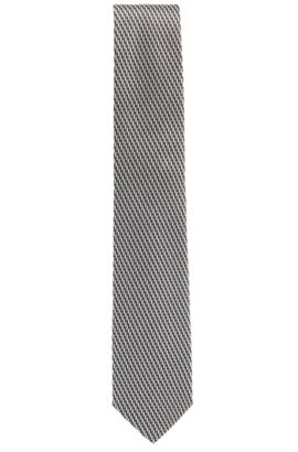 Striped tie in silk jacquard, Dark Grey