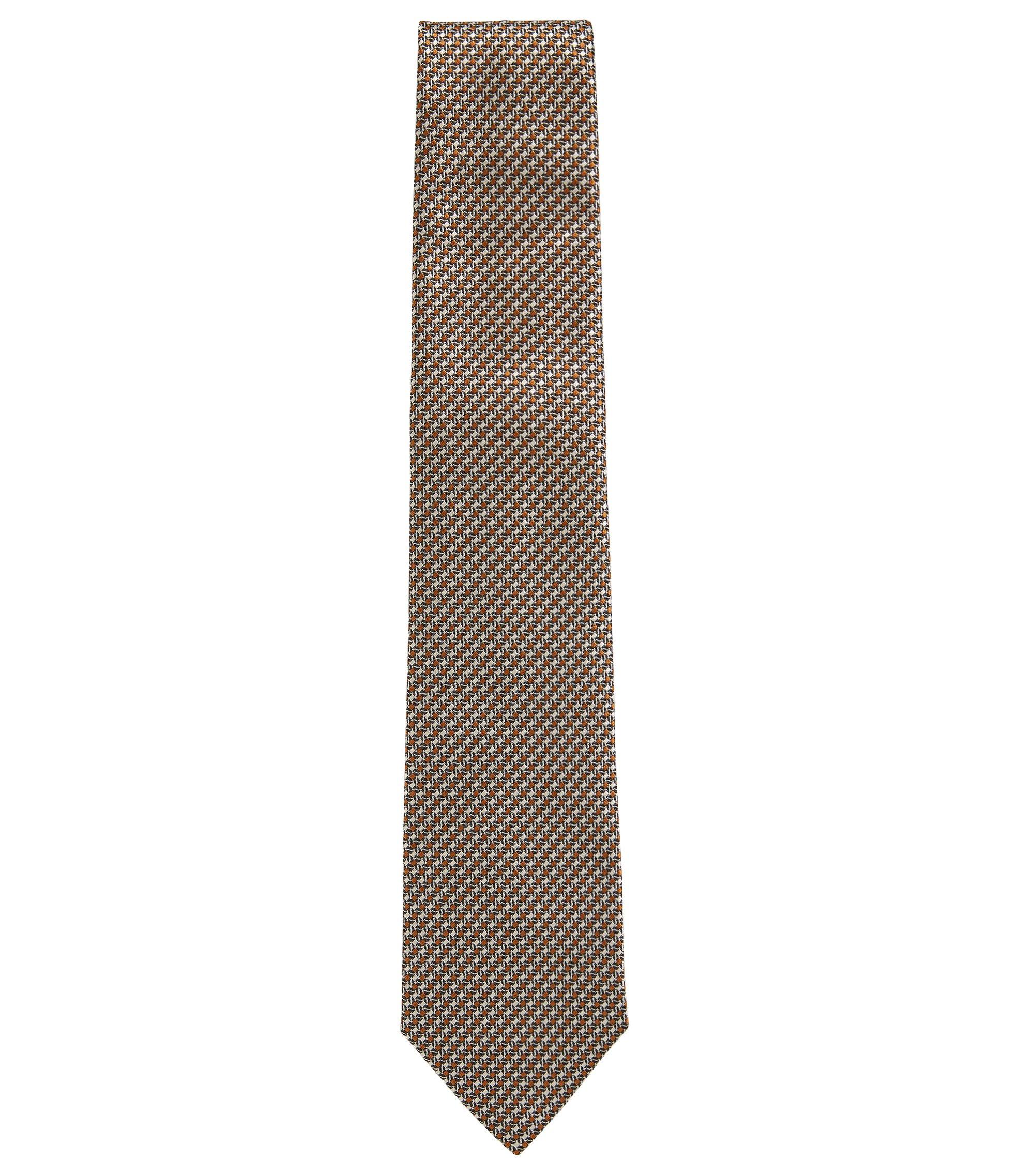 Striped tie in silk jacquard, Beige