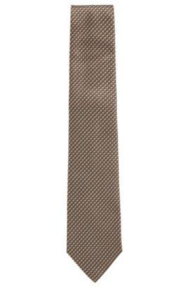 Krawatte aus Seiden-Jacquard mit Streifen-Muster, Beige