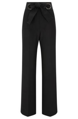 Relaxed-fit trousers with bow closure, Noir