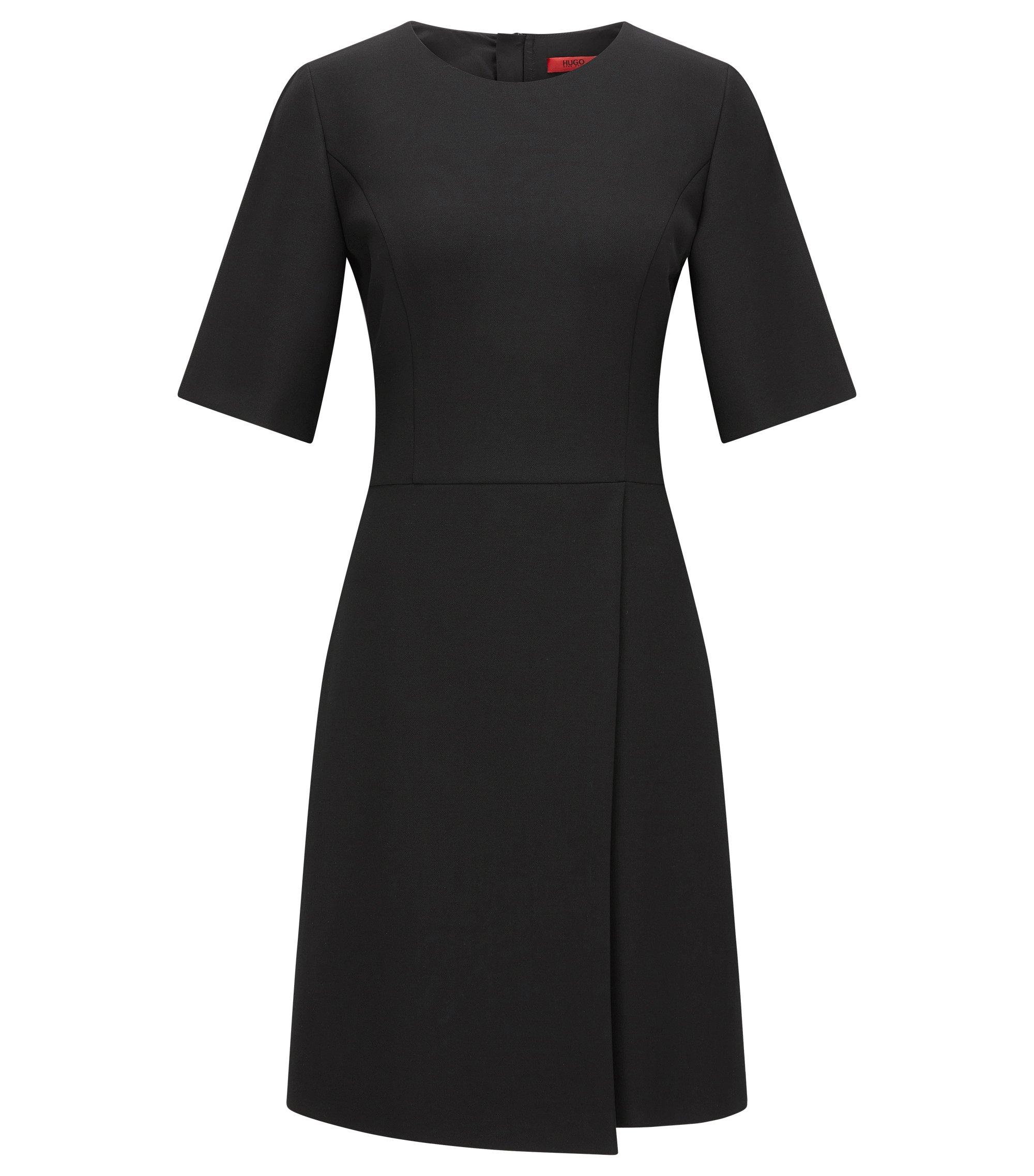 Regular-Fit Kleid in Wickel-Optik aus Material-Mix, Schwarz