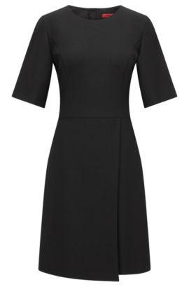 Regular-Fit Kleid in Wickel-Optik aus Material-Mix, Schwarz