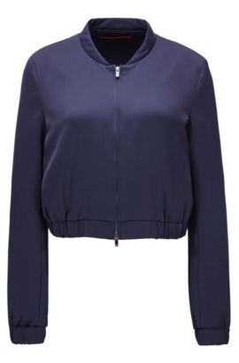 Relaxed-fit bomber jacket in satin crêpe, Dark Blue