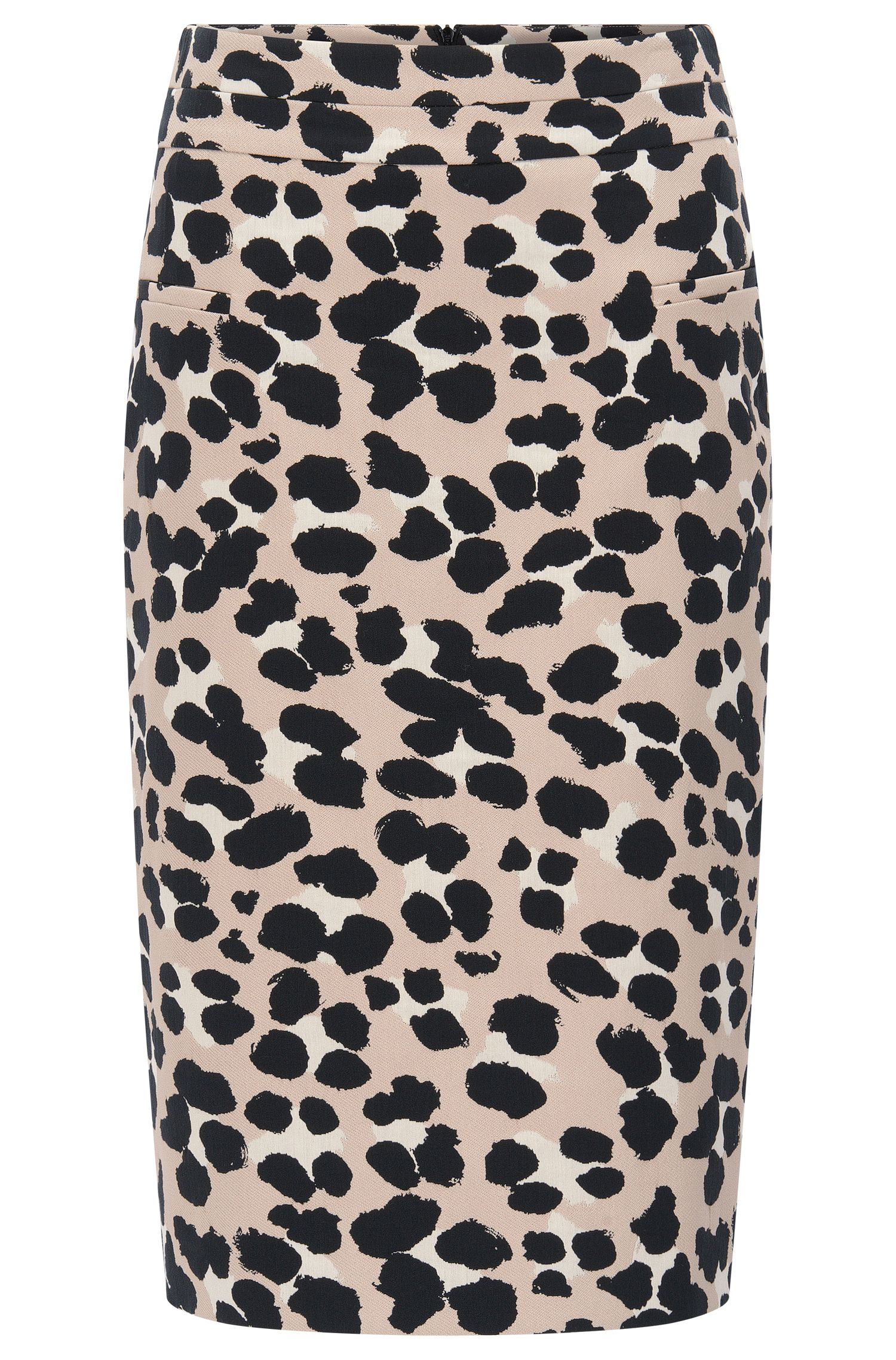 Pencil skirt in cheetah-print jacquard