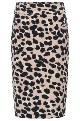 Pencil skirt in cheetah-print jacquard, Patterned