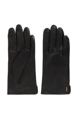 Leren handschoenen met touchscreenfunctie, Zwart