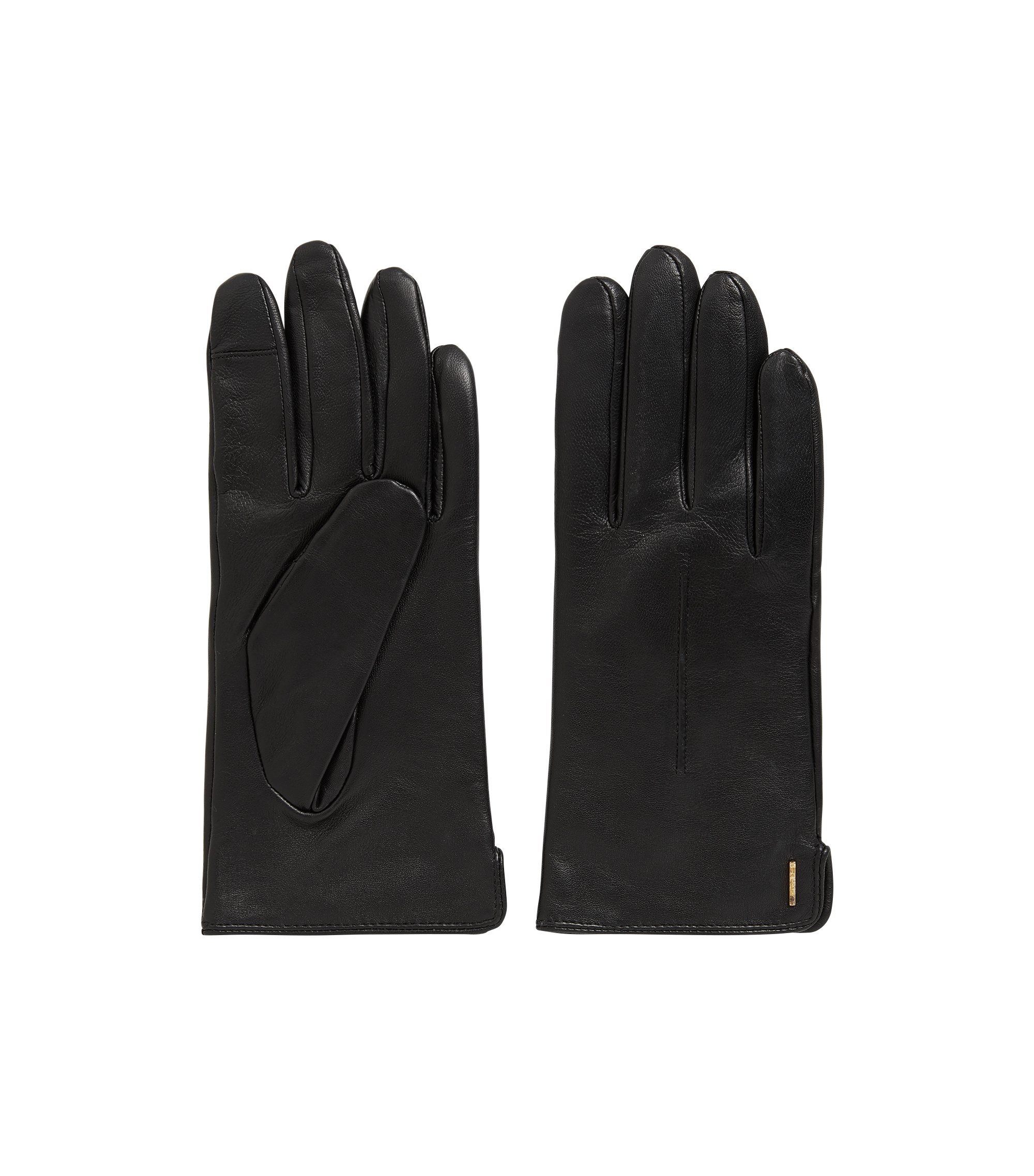 Leather gloves with touchscreen function, Black