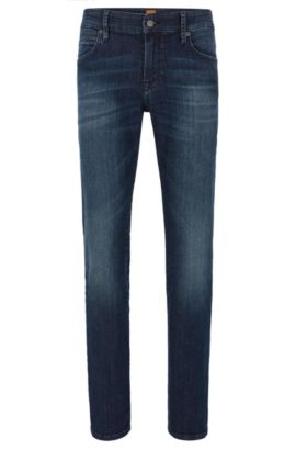 Regular-fit jeans in washed stretch denim, Blue