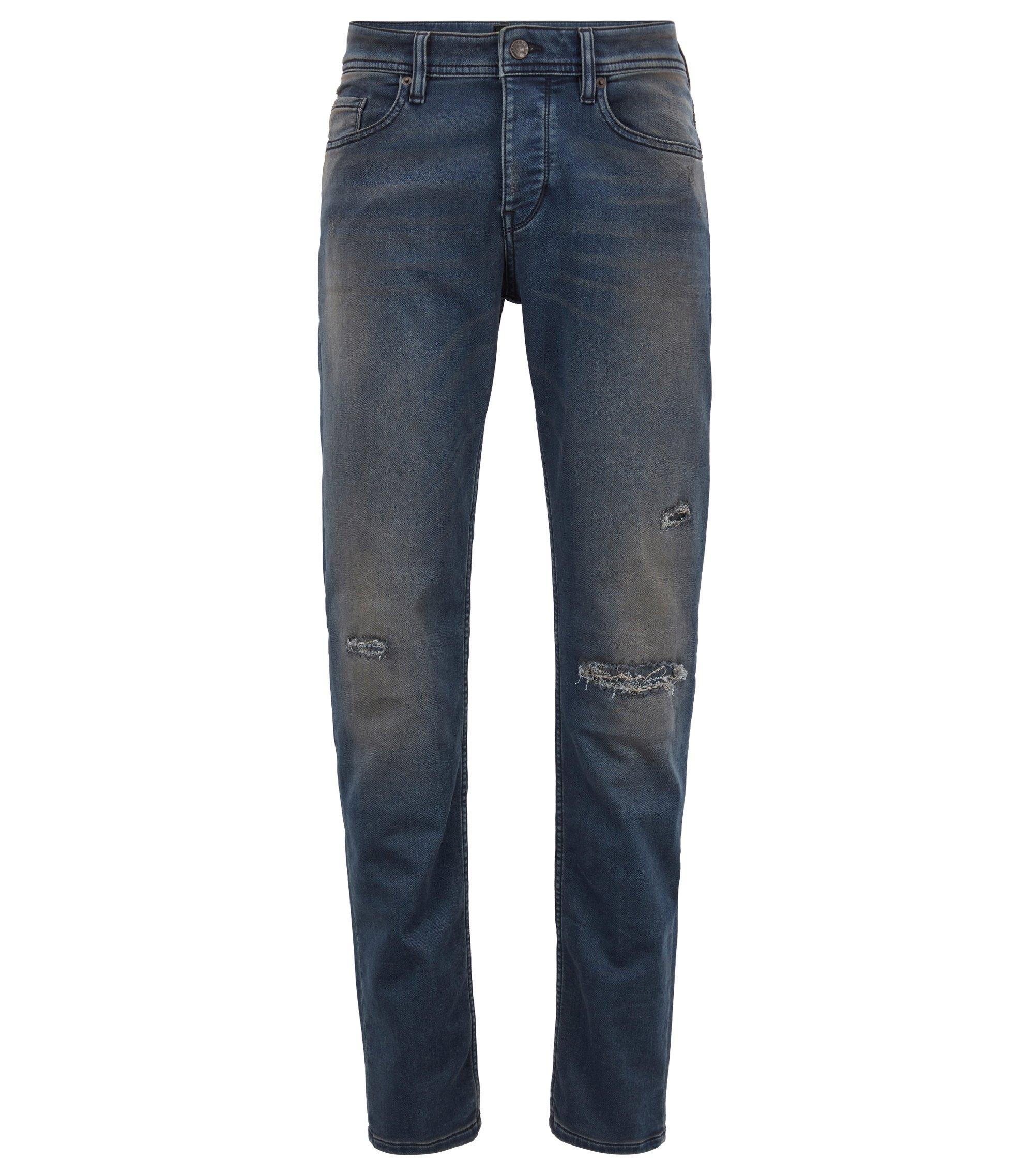 Tapered-Fit Jeans aus gestricktem Stretch-Denim, Dunkelblau
