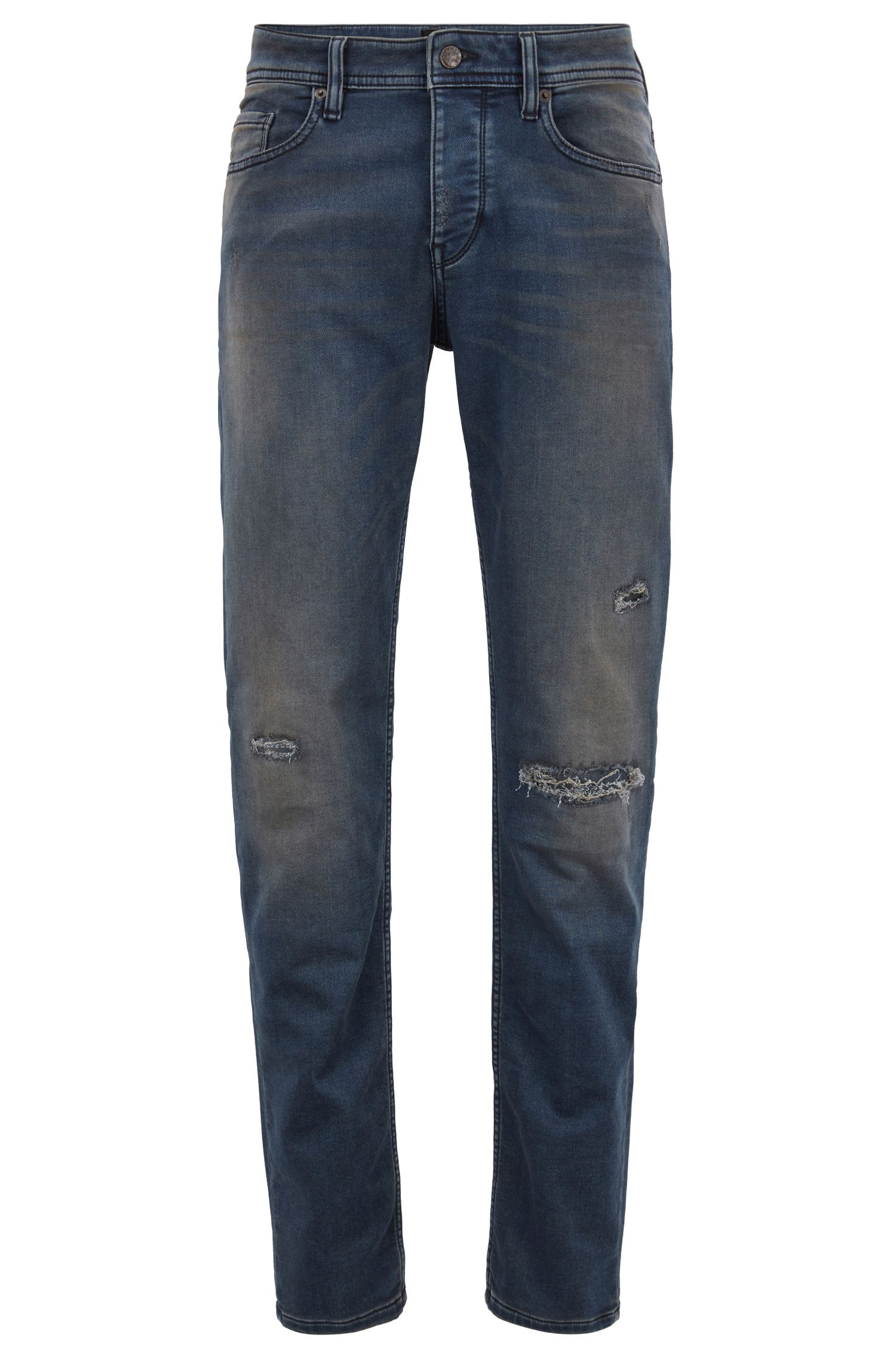 Tapered-fit jeans van gebreid stretchdenim
