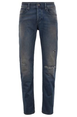 Jeans Tapered Fit en maille denim stretch, Bleu foncé
