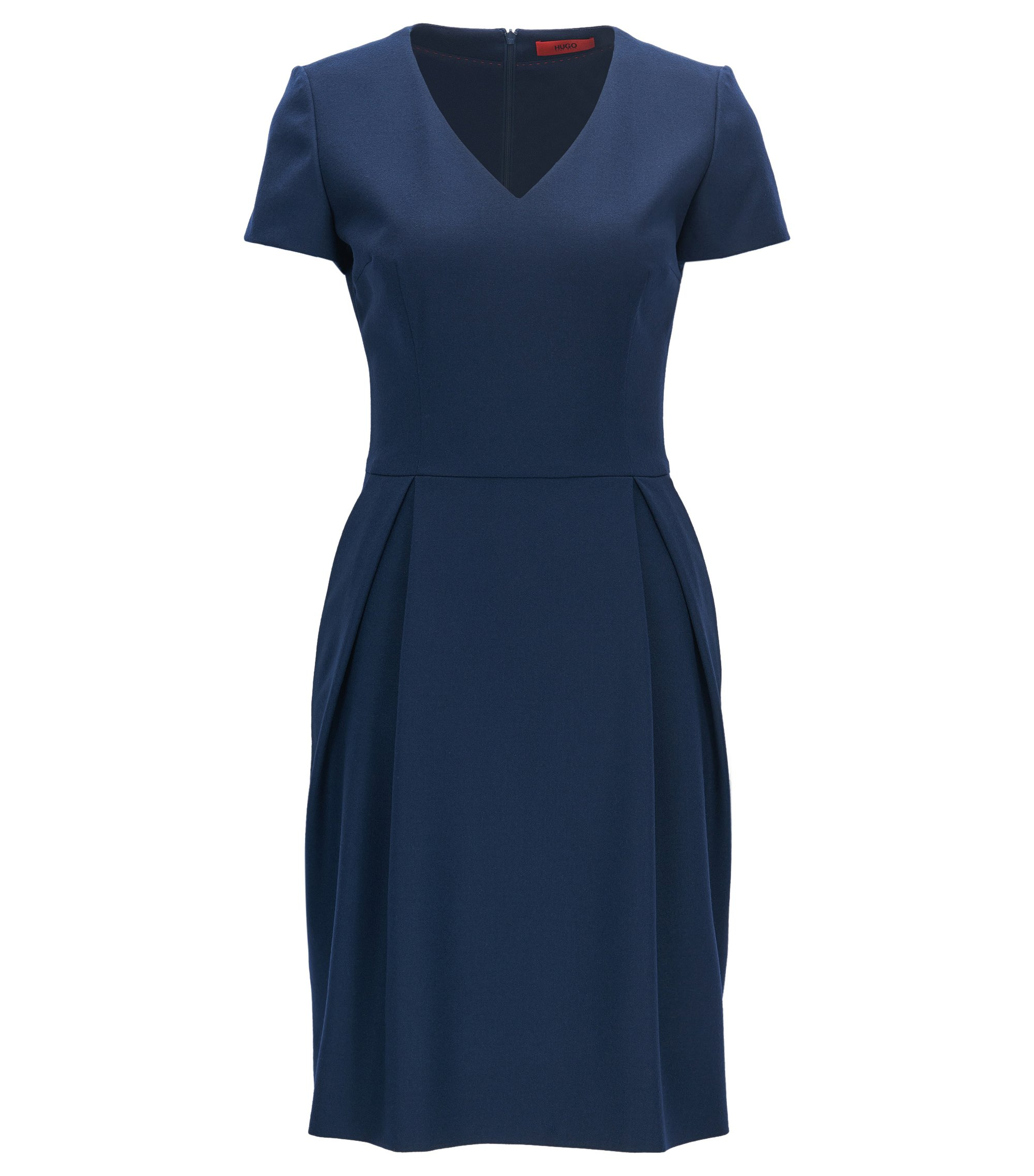V-neck dress in stretch virgin wool, Dark Blue