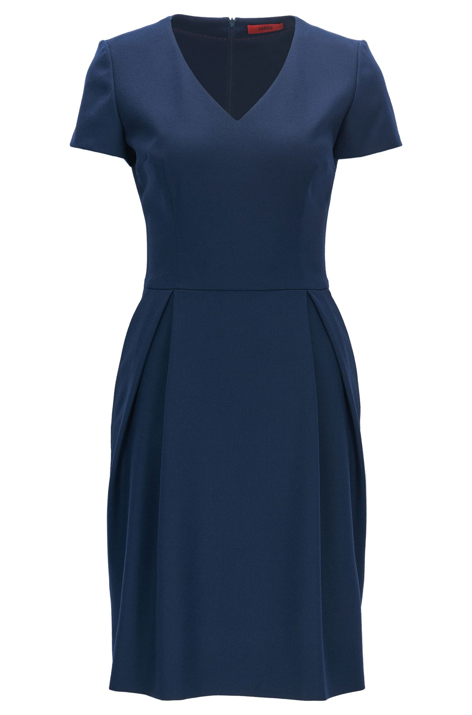 V-neck dress in stretch virgin wool