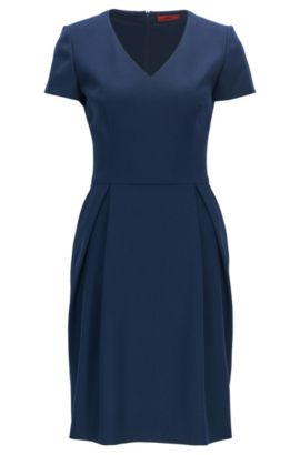 V-neck dress in stretch virgin wool, Dunkelblau