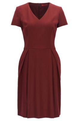 Vestido con escote en pico en lana virgen elástica, Rojo oscuro