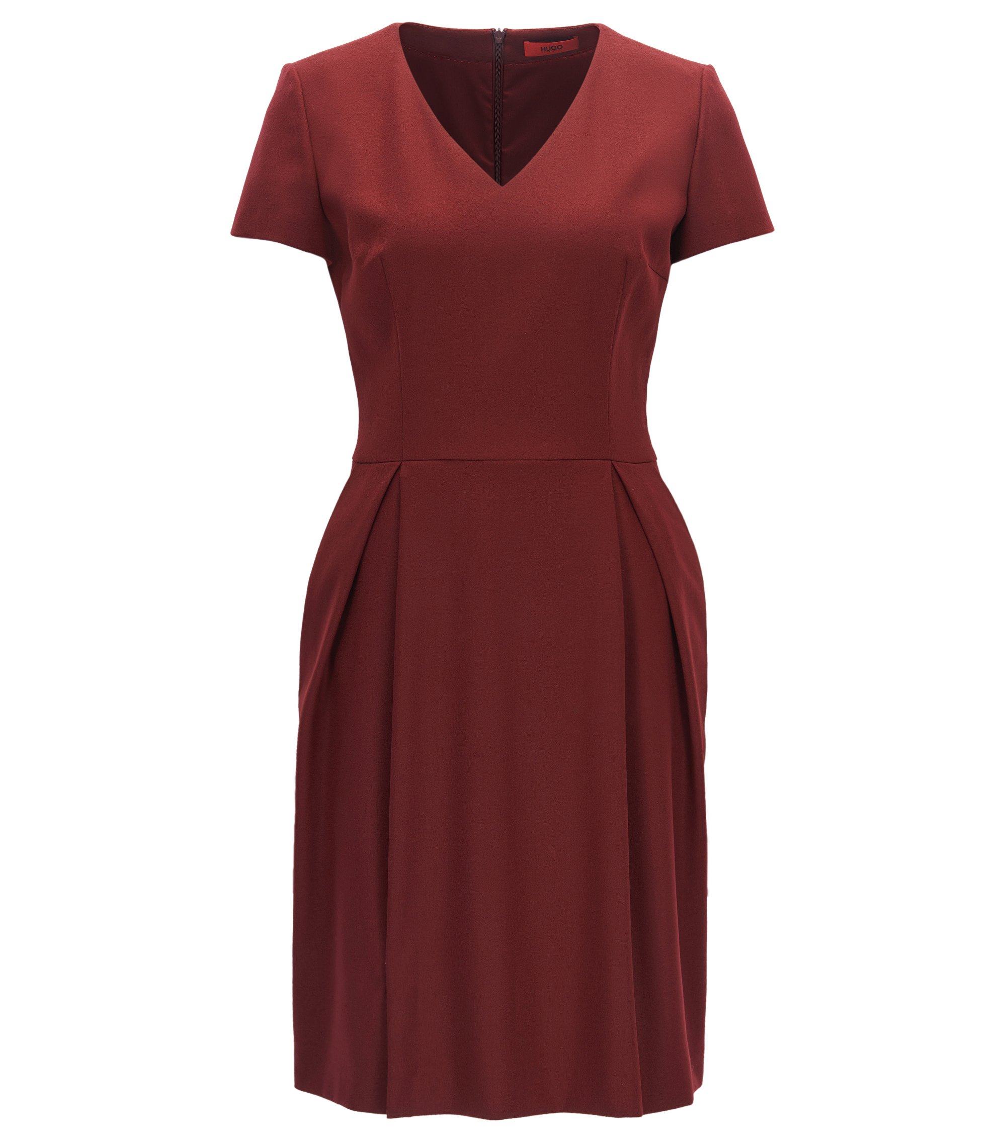 Robe col V en laine vierge stretch, Rouge sombre