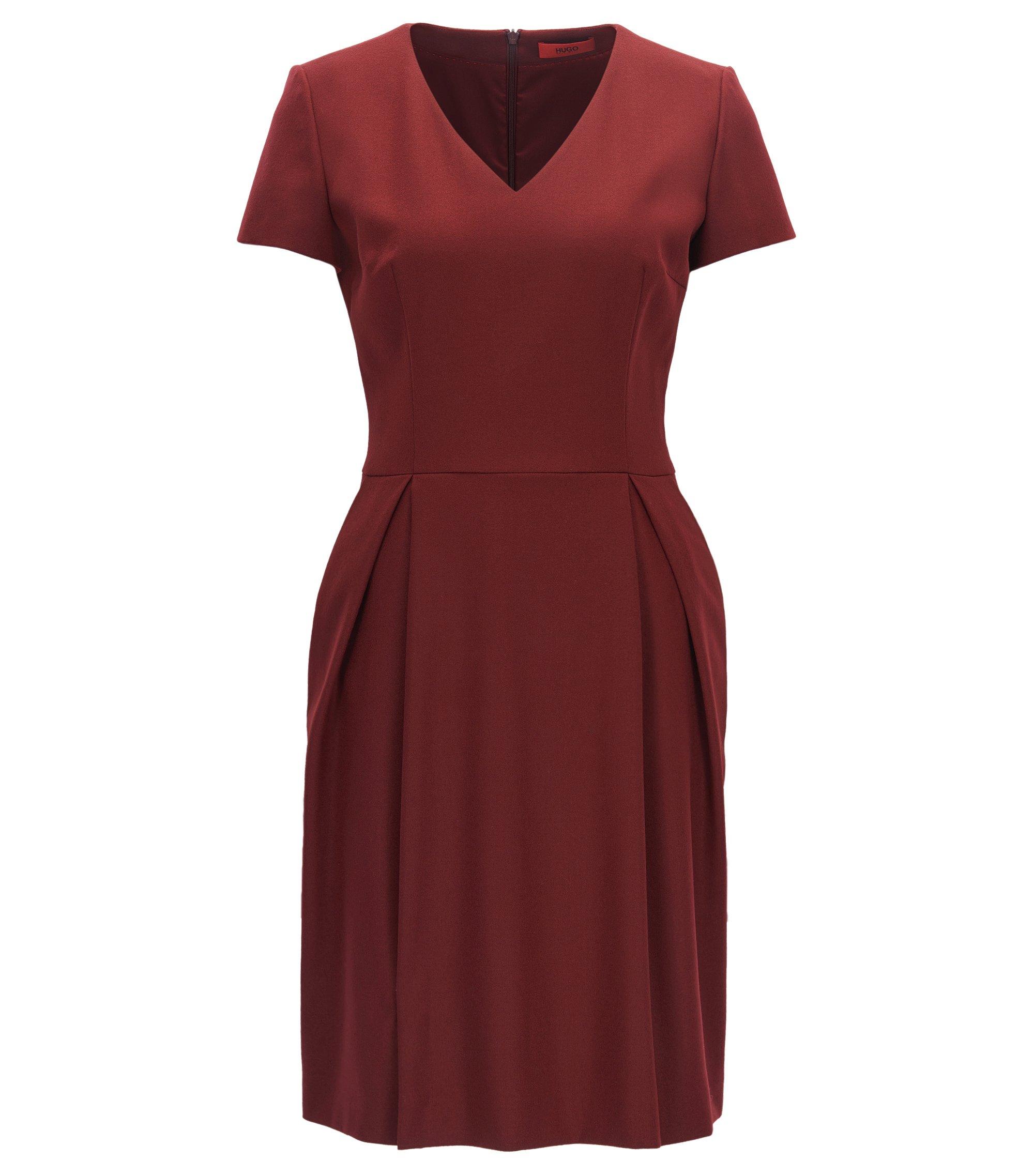 Regular-Fit Kleid aus Stretch-Schurwolle mit V-Ausschnitt, Dunkelrot