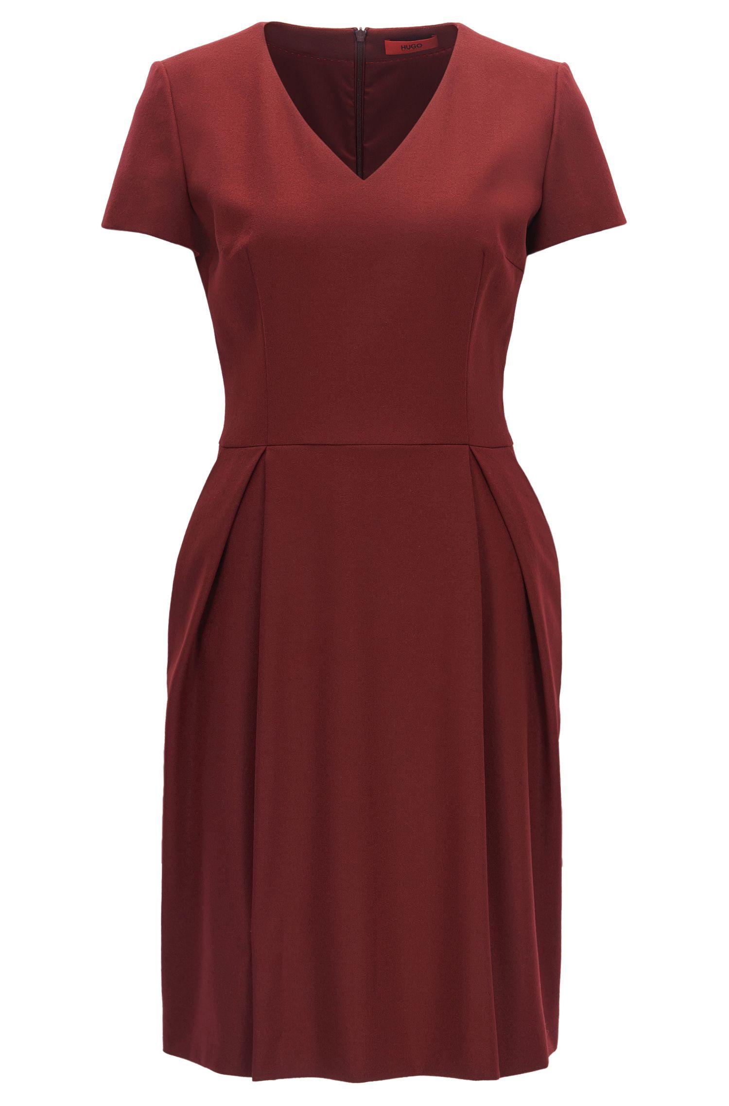 Vestito con scollo a V in lana vergine elasticizzata