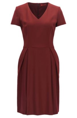 V-neck dress in stretch virgin wool, Dark Red