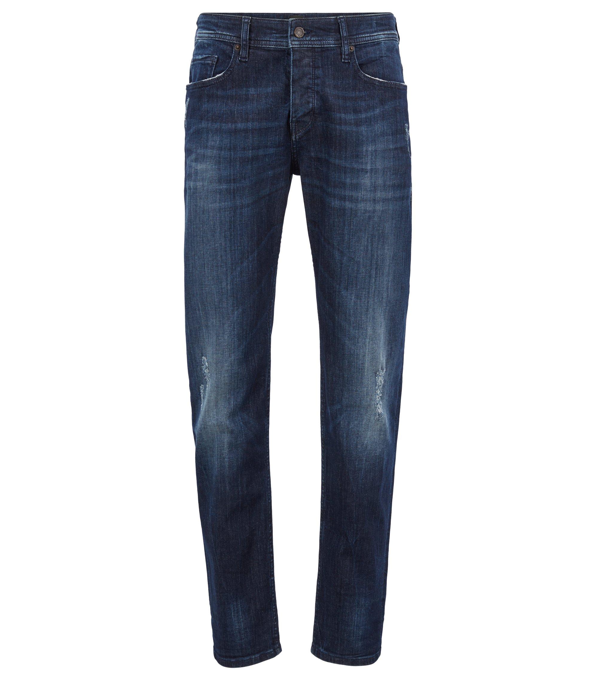 Tapered-fit jeans van super-stretchdenim, Donkerblauw