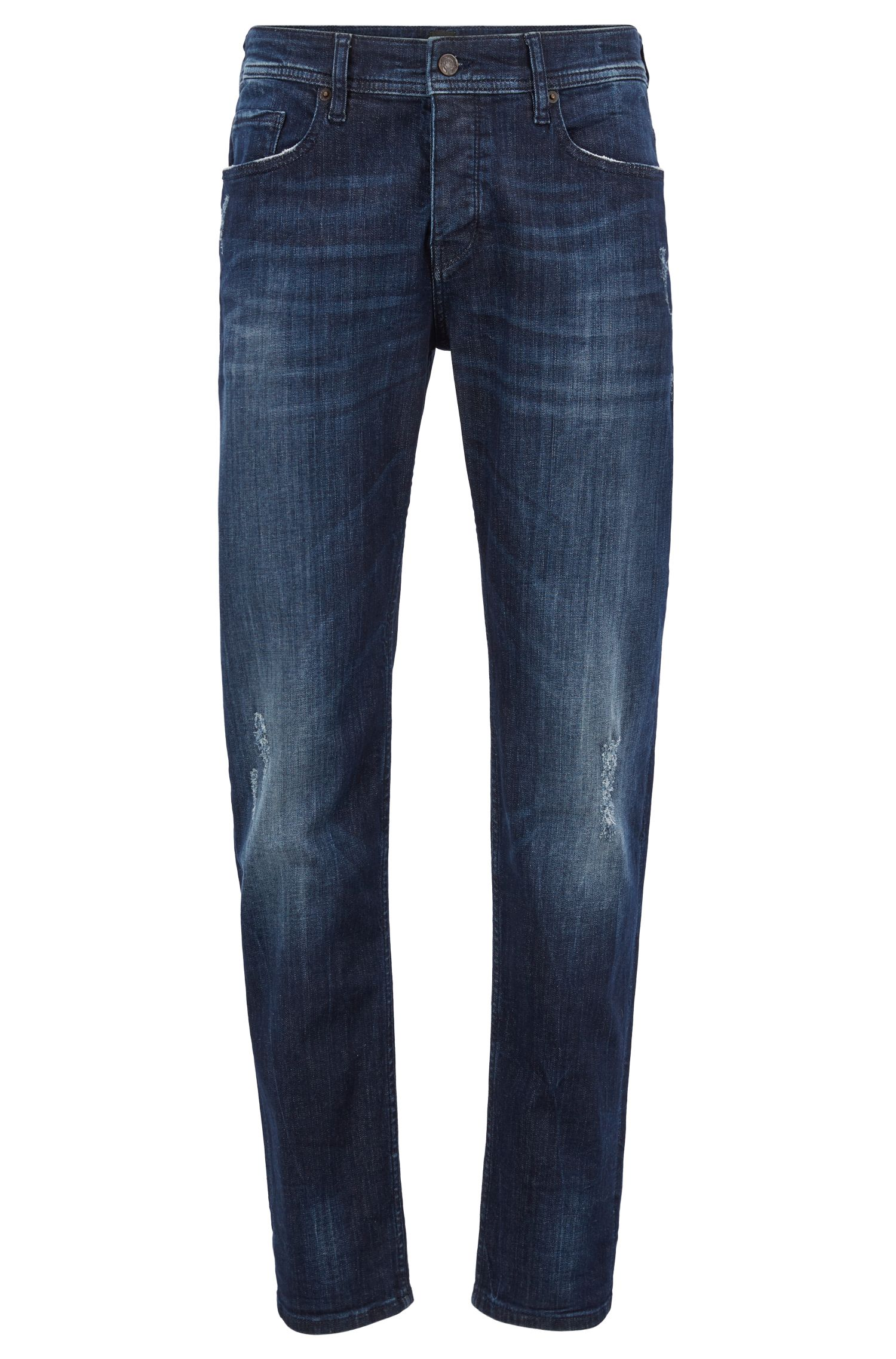 Jeans tapered fit in denim super elasticizzato