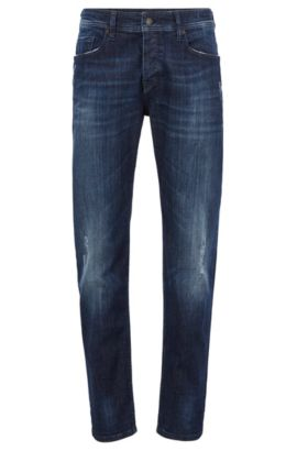 Jeans Tapered Fit en denim super stretch, Bleu foncé