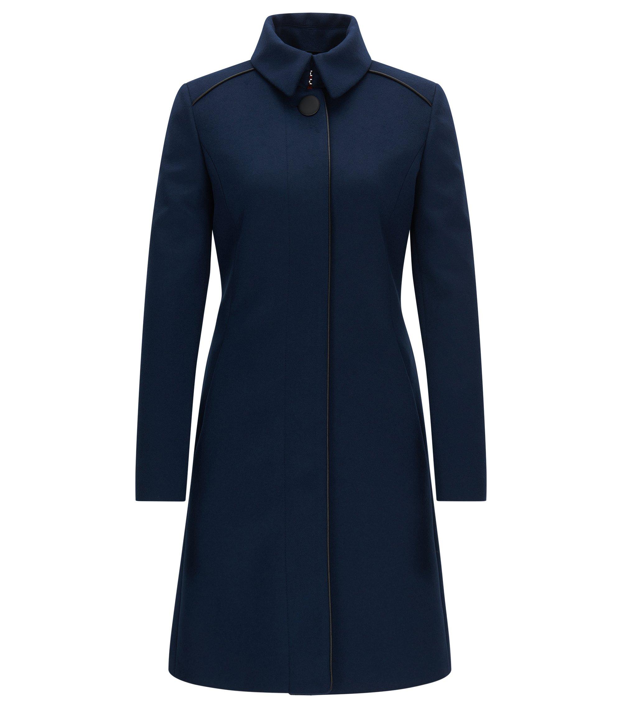 Manteau Slim Fit en laine mélangée à passepoils contrastants, Bleu foncé