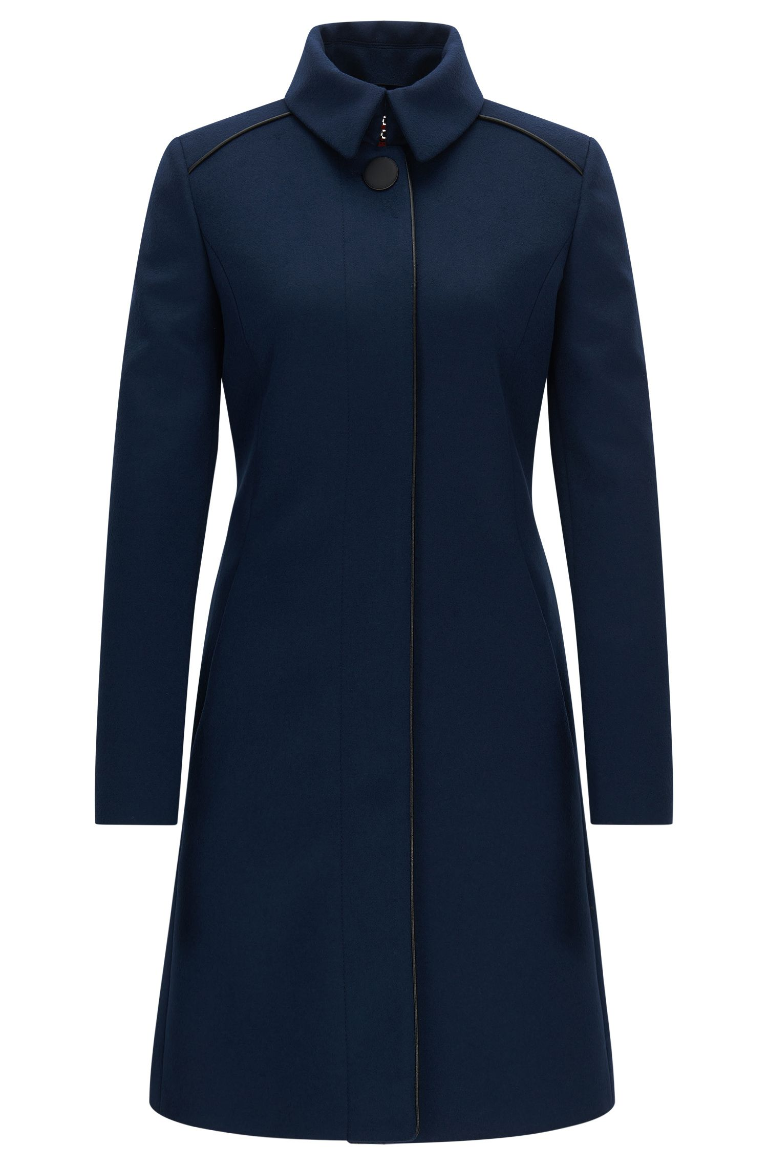 Slim-fit wool-blend coat with contrast piping