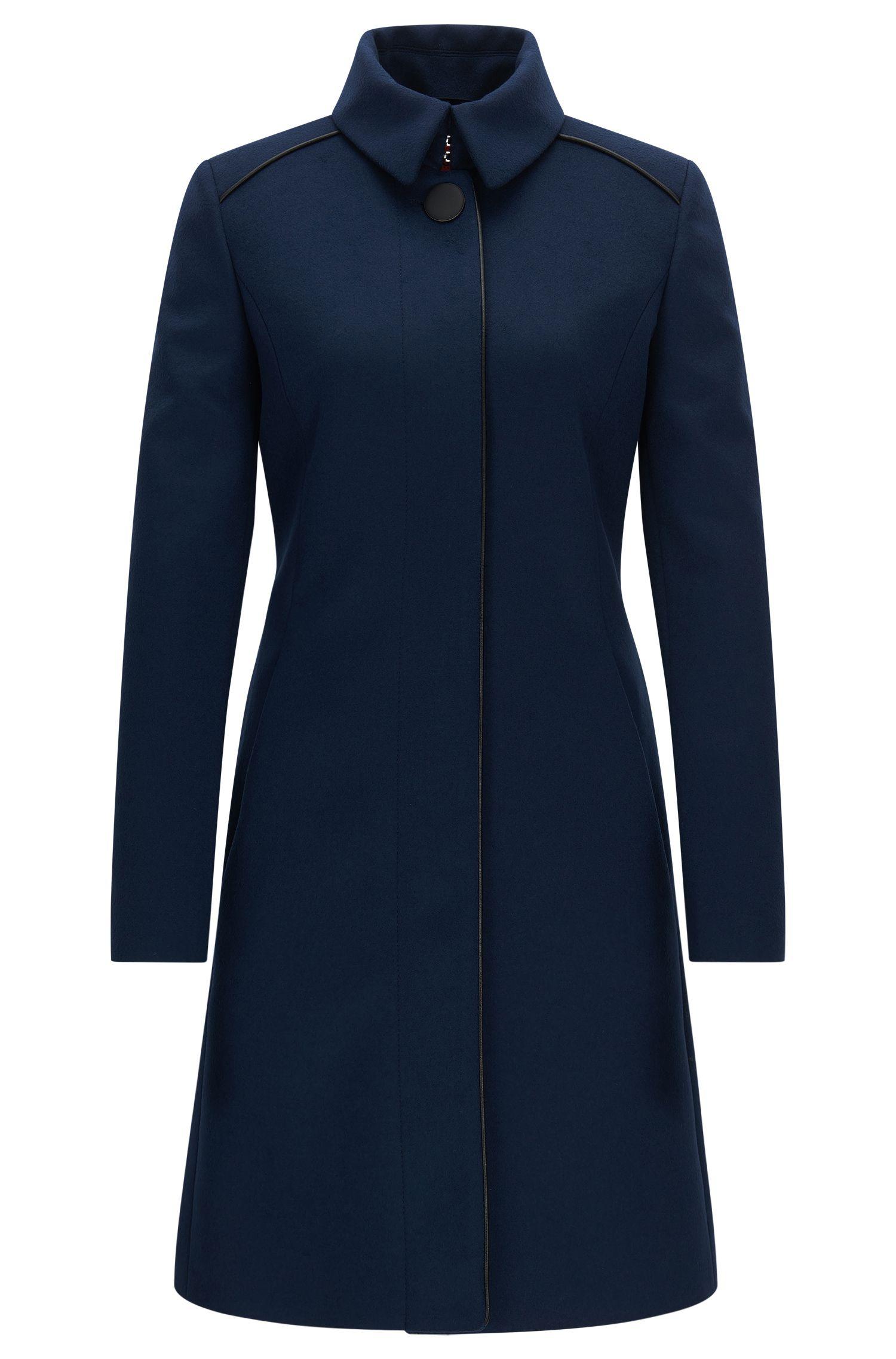 Manteau Slim Fit en laine mélangée à passepoils contrastants