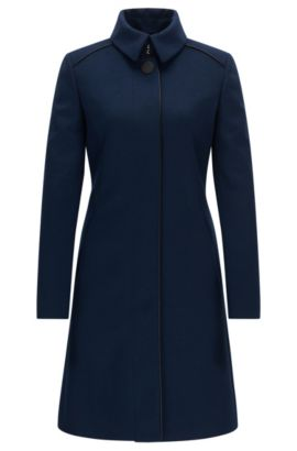 Slim-fit wool-blend coat with contrast piping, Dunkelblau