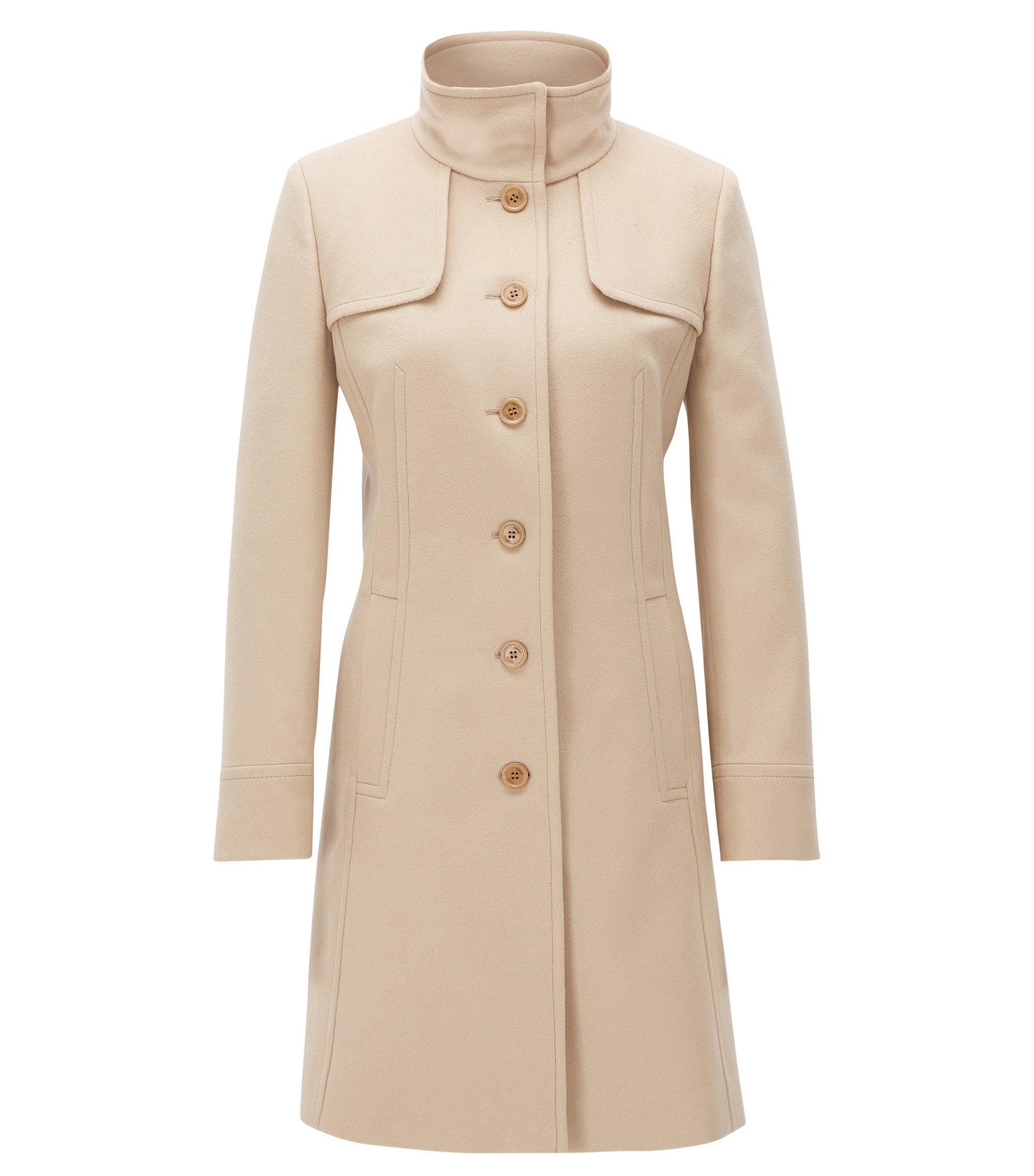Slim-fit coat in a virgin wool mix, Light Brown