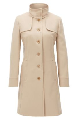 Slim-fit coat in a virgin wool mix, Light Brown