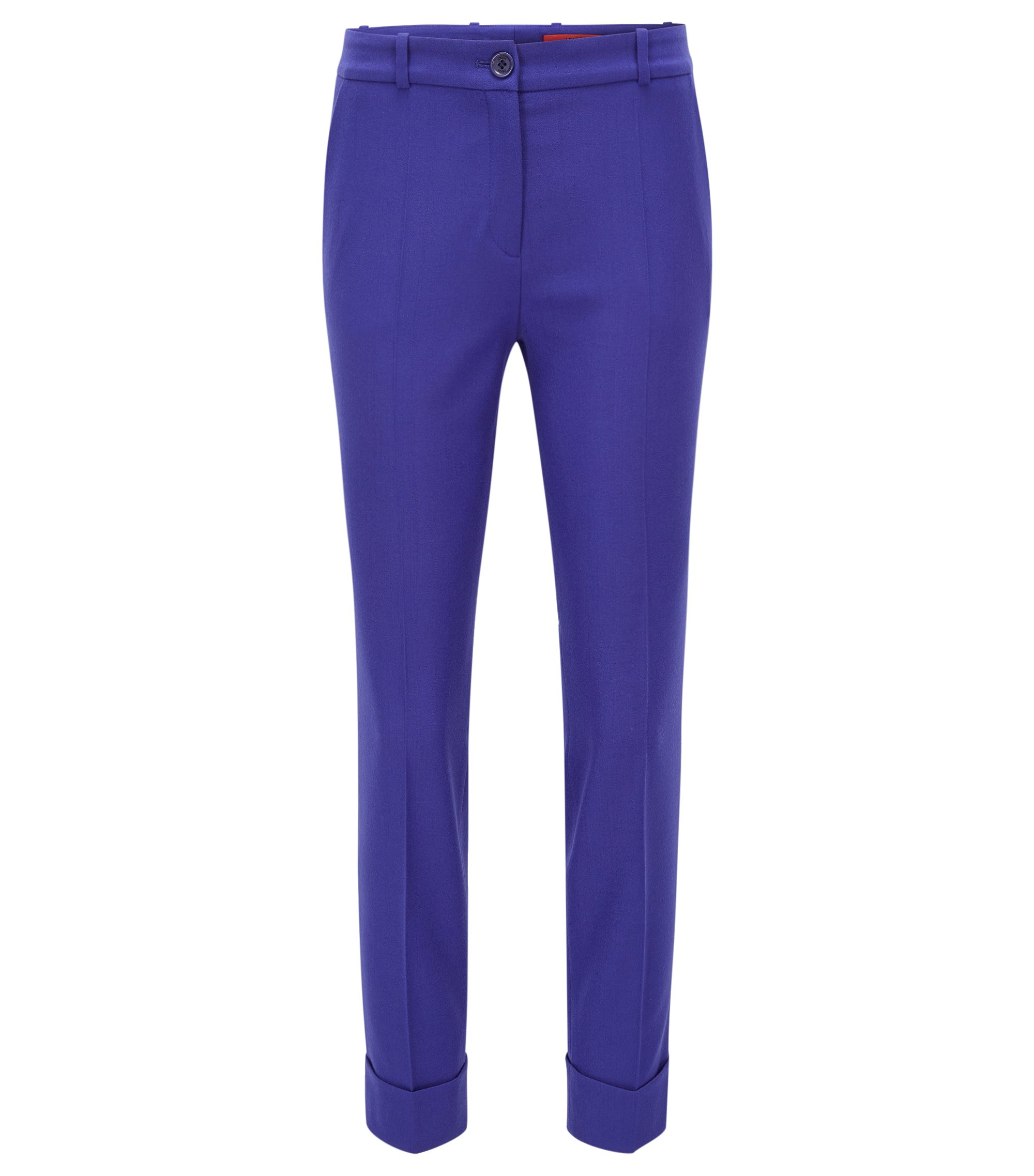 Slim-fit cropped trousers in a wool mix, Blue